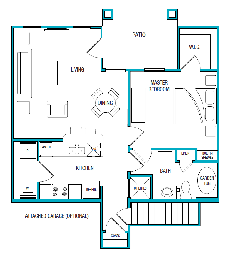 859 sq. ft. A2 floor plan