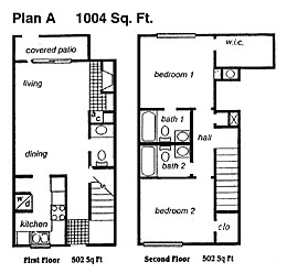 1,004 sq. ft. C floor plan