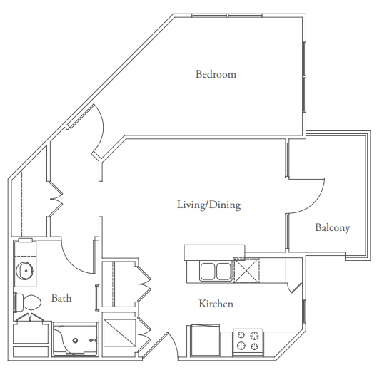 642 sq. ft. Guadalupe floor plan