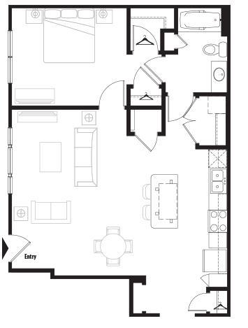 816 sq. ft. Grand Courtyard floor plan