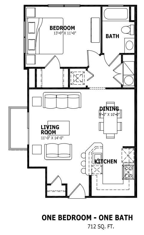712 sq. ft. floor plan