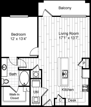 700 sq. ft. 11F2 floor plan
