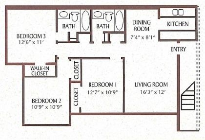 1,052 sq. ft. floor plan