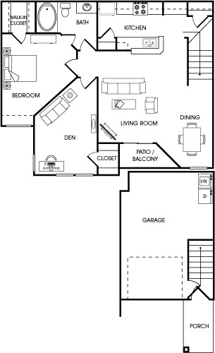 1,050 sq. ft. Juniper floor plan