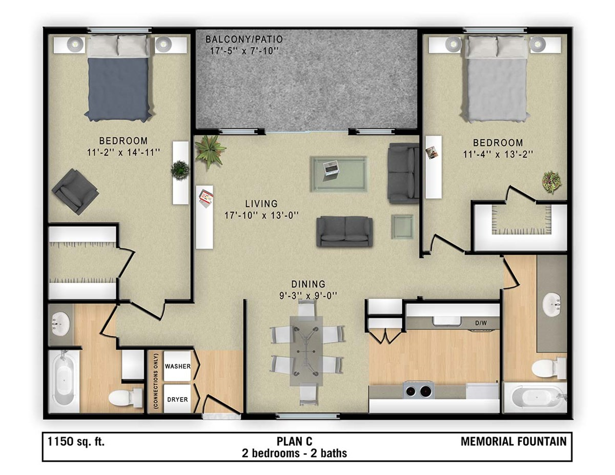 1,150 sq. ft. C floor plan