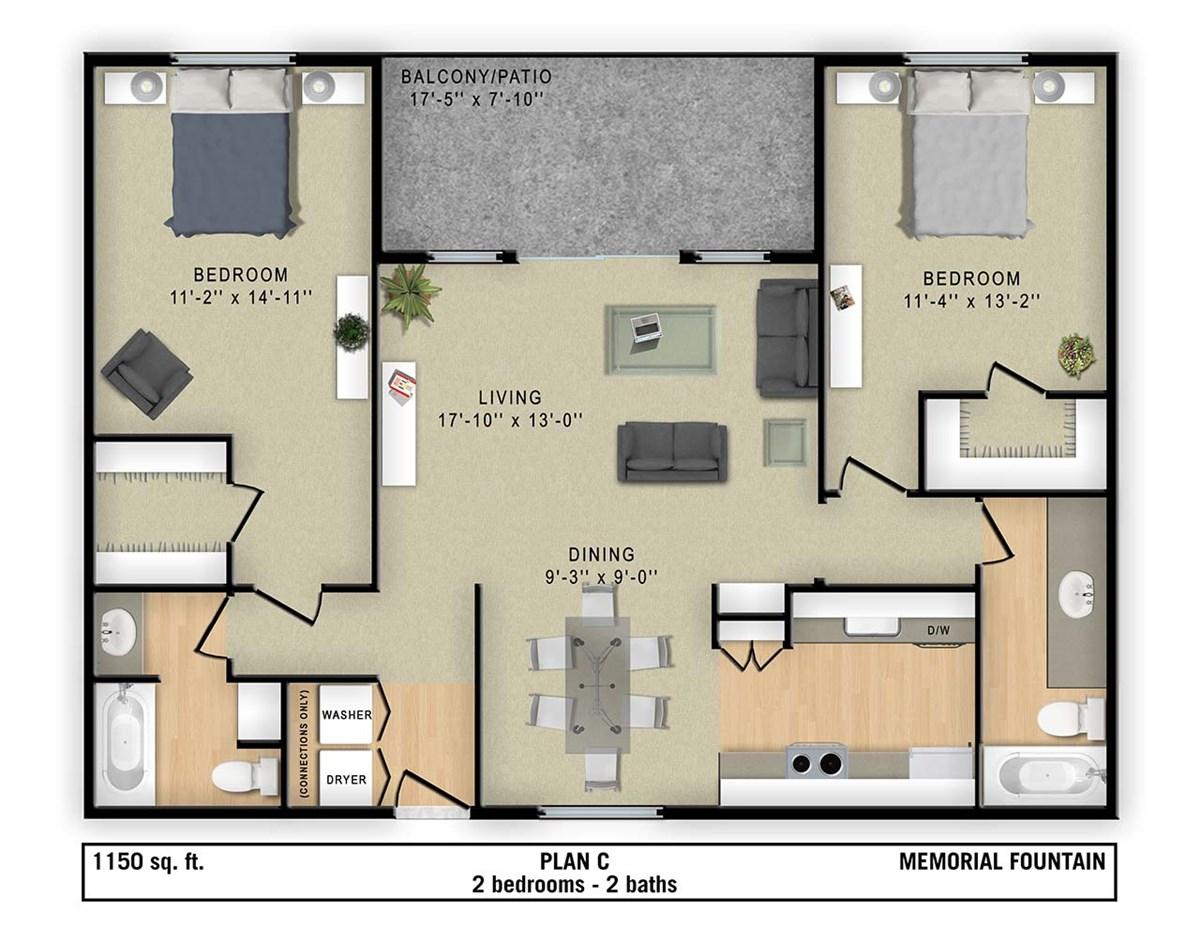 1,150 sq. ft. C floor plan