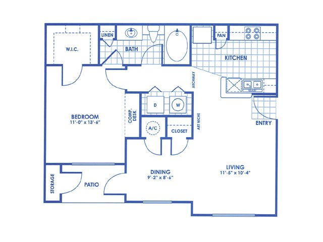757 sq. ft. A2 floor plan