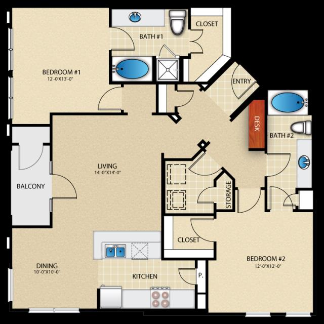 1,280 sq. ft. B4 floor plan