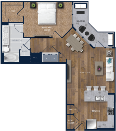 960 sq. ft. A9 floor plan