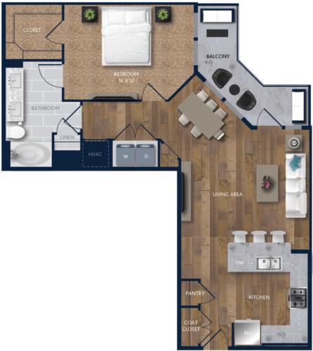 960 sq. ft. A9 floor plan