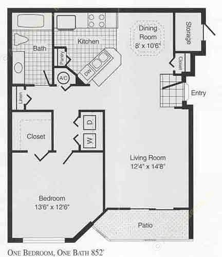 769 sq. ft. to 852 sq. ft. B floor plan
