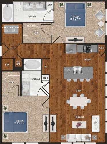 1,211 sq. ft. B2 floor plan