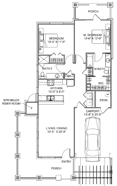 1,114 sq. ft. Carriage House Mkt floor plan