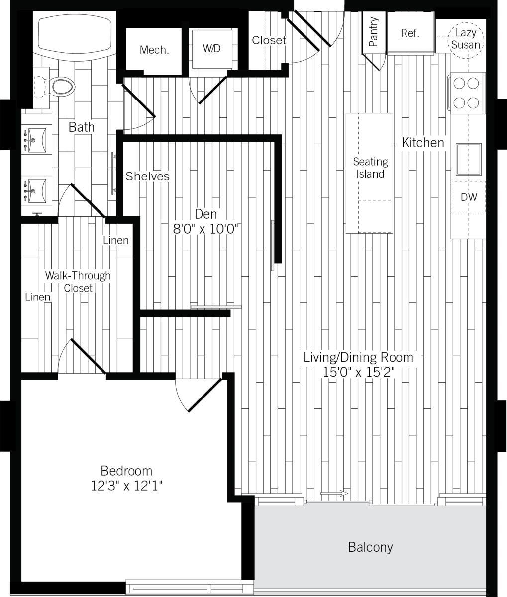951 sq. ft. 1L floor plan