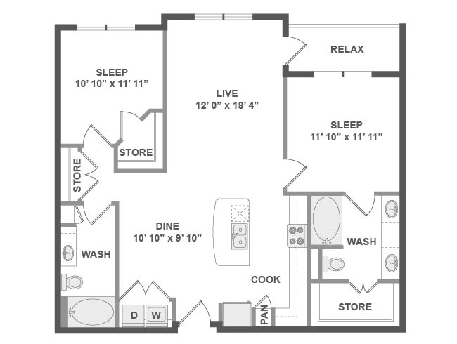 1,117 sq. ft. C5 floor plan