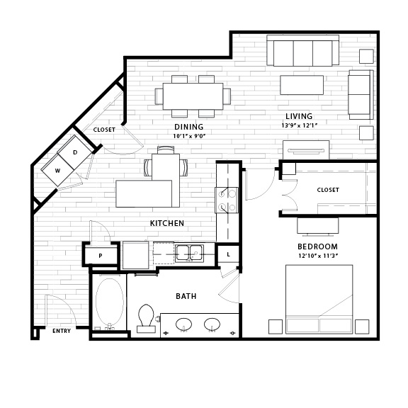 911 sq. ft. A5 floor plan