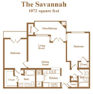1,072 sq. ft. Savannah floor plan