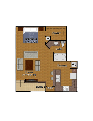 677 sq. ft. E1 floor plan
