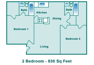 830 sq. ft. C floor plan