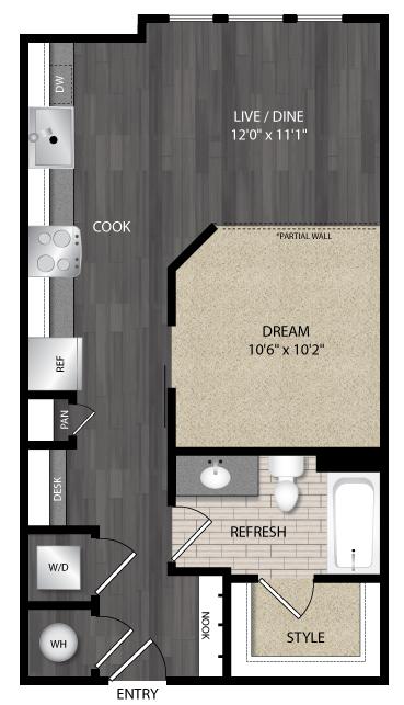 623 sq. ft. E2 floor plan