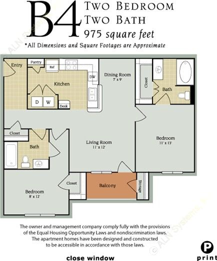 975 sq. ft. B2/60% floor plan
