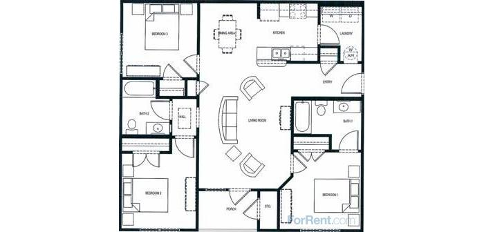 1,182 sq. ft. 60% floor plan
