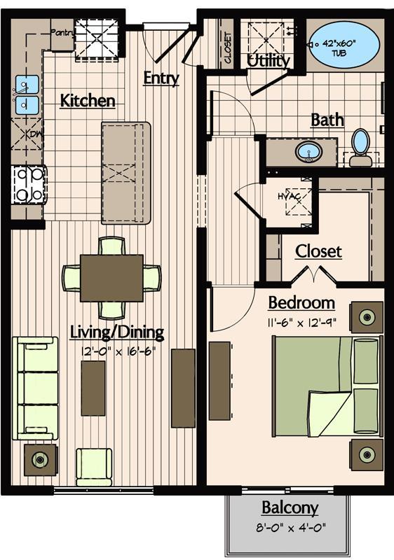 755 sq. ft. A2.2 floor plan