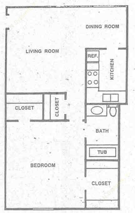 540 sq. ft. A1 floor plan
