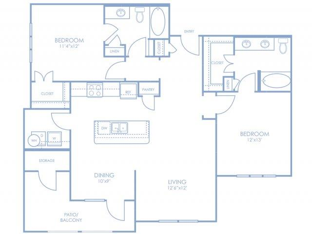 1,180 sq. ft. B3 floor plan