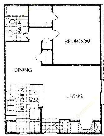 717 sq. ft. B floor plan