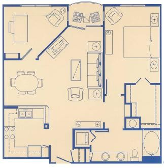 899 sq. ft. C1 floor plan