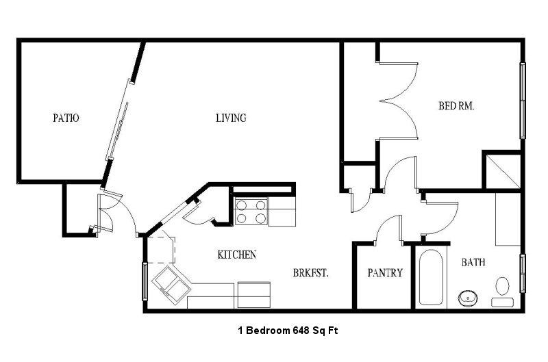 648 sq. ft. floor plan