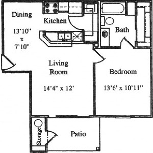 667 sq. ft. A1/60% floor plan