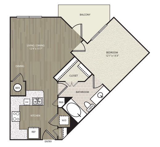 717 sq. ft. A8 floor plan