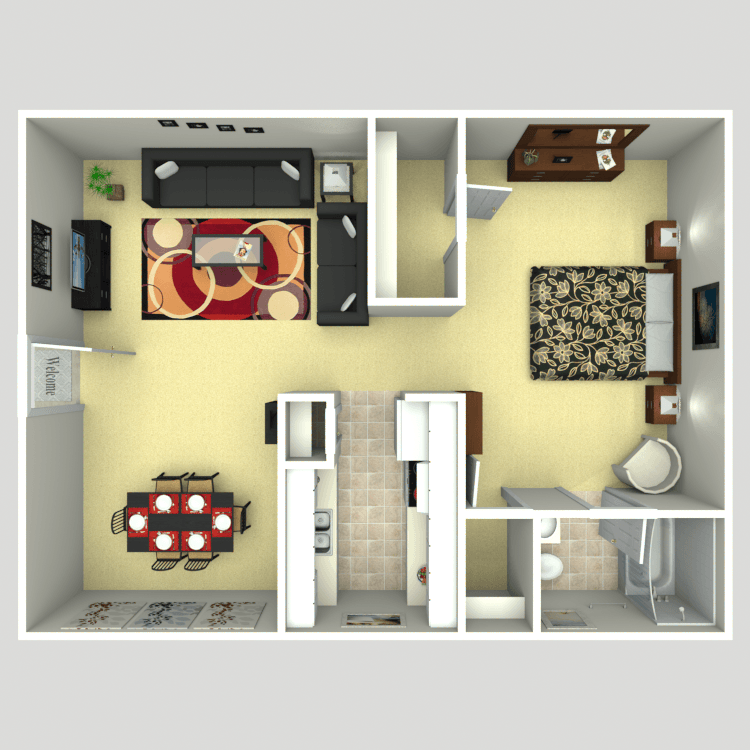 734 sq. ft. floor plan