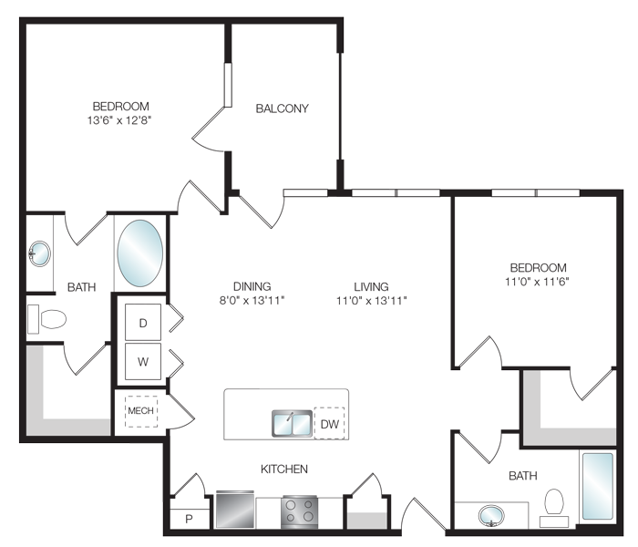 840 sq. ft. A4.6 floor plan