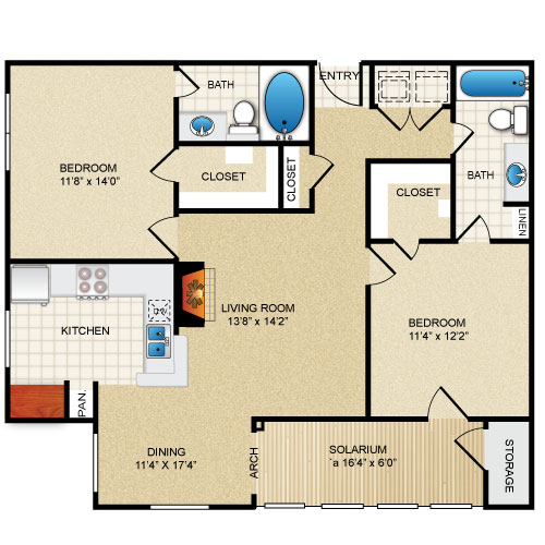 1,180 sq. ft. Magnolia Sol floor plan