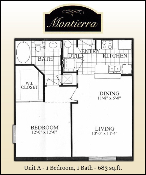 683 sq. ft. A floor plan