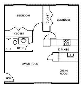 828 sq. ft. floor plan