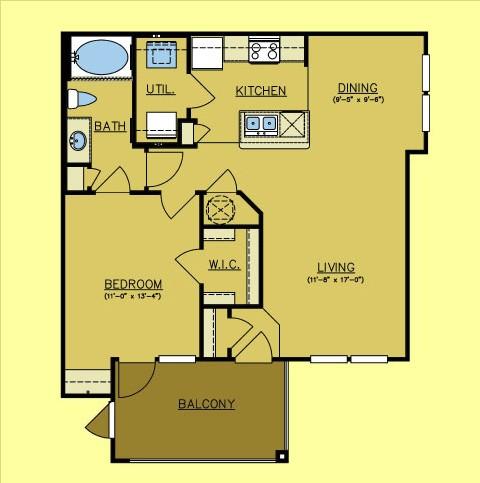798 sq. ft. Rio Lobo floor plan
