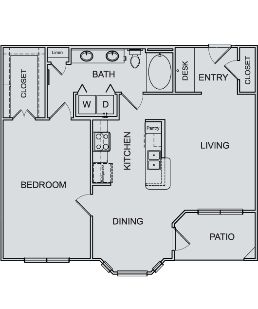 901 sq. ft. A3 floor plan