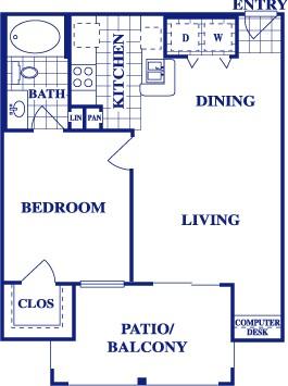 668 sq. ft. A1 floor plan