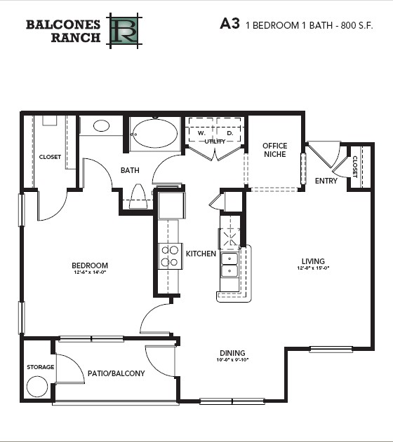 800 sq. ft. to 819 sq. ft. Sapphire floor plan