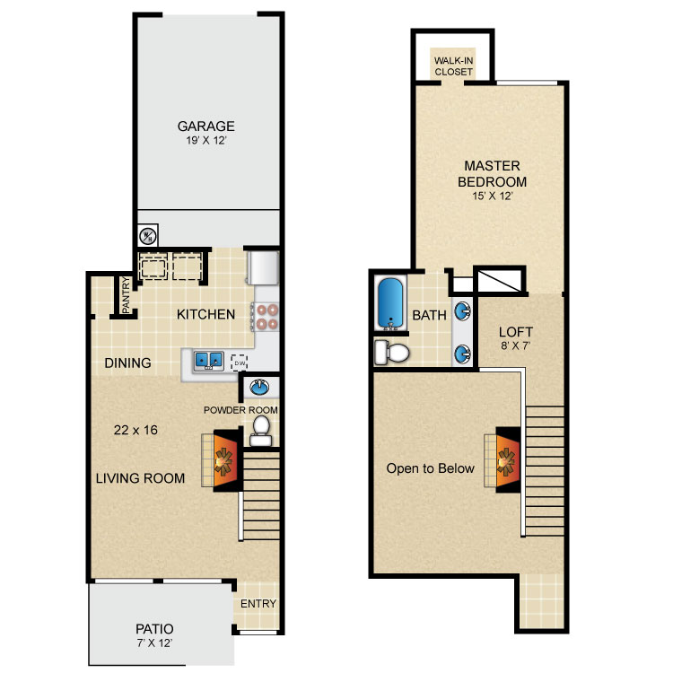 899 sq. ft. A floor plan