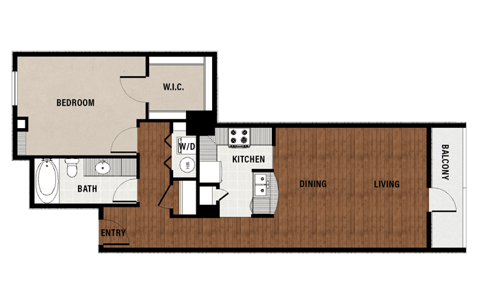 1,007 sq. ft. A14 floor plan