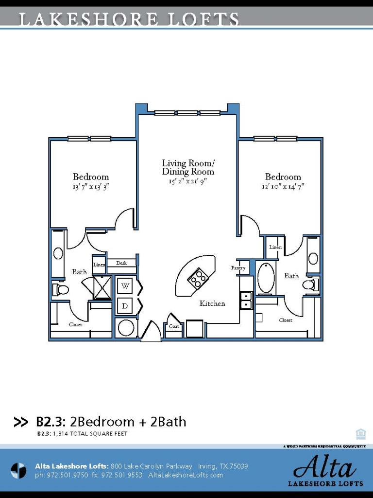 1,314 sq. ft. B2.3 floor plan