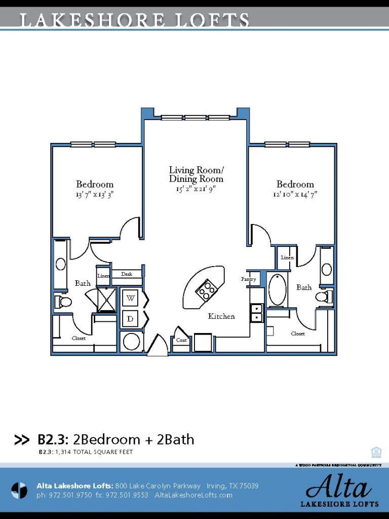 1,314 sq. ft. B2.3 floor plan