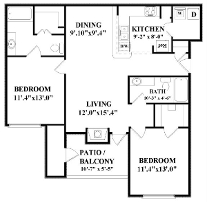 1,055 sq. ft. Celestial floor plan