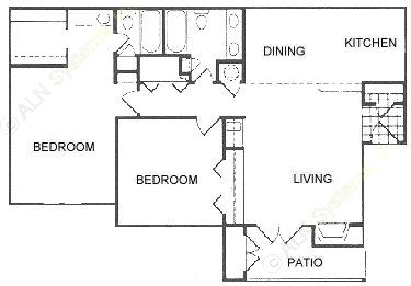 1,116 sq. ft. A floor plan