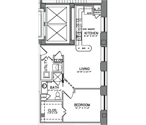 720 sq. ft. Unit 11 floor plan